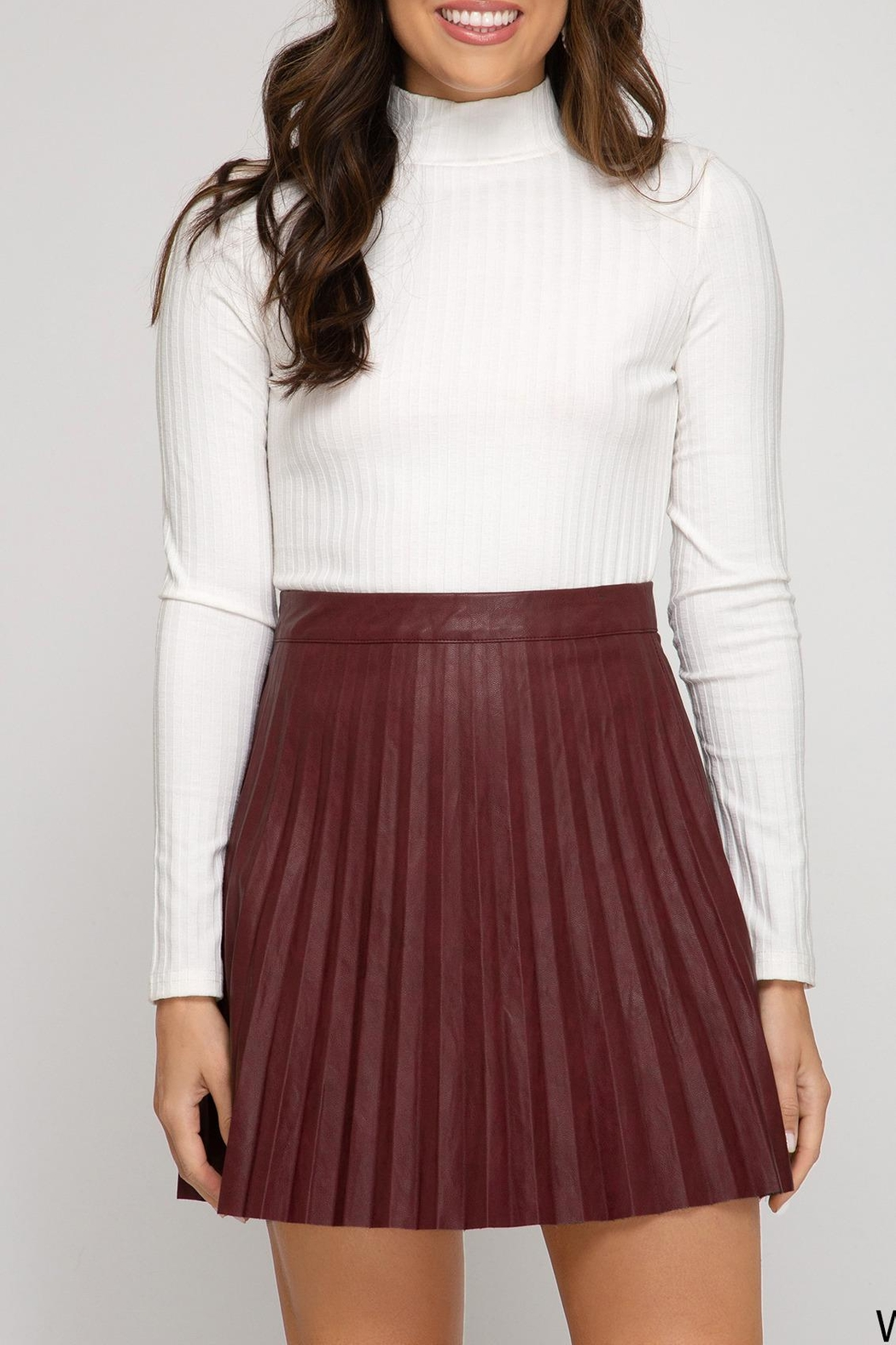 She + Sky Leather Pleated Mini - Front Cropped Image