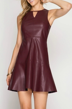 She + Sky Leather Trumpet Dress - Product List Image