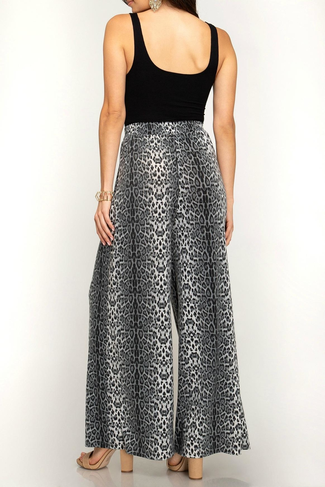 She + Sky Leopard Palazzo Pants - Front Full Image