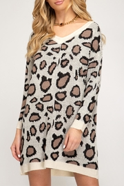 She + Sky Leopard Print Sweater - Front cropped