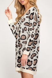 She + Sky Leopard Print Sweater - Front full body