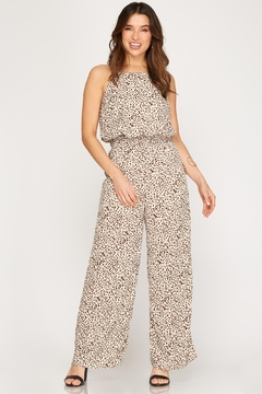 She + Sky Leopard Smocked Jumpsuit - Product List Image