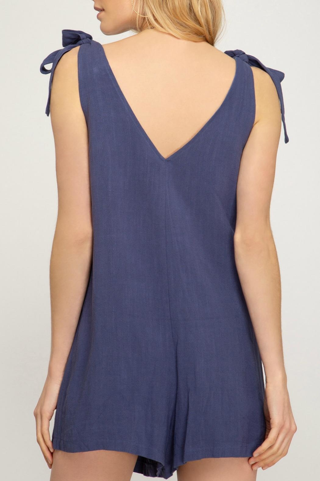 She + Sky Lola Button-Up Romper - Front Full Image