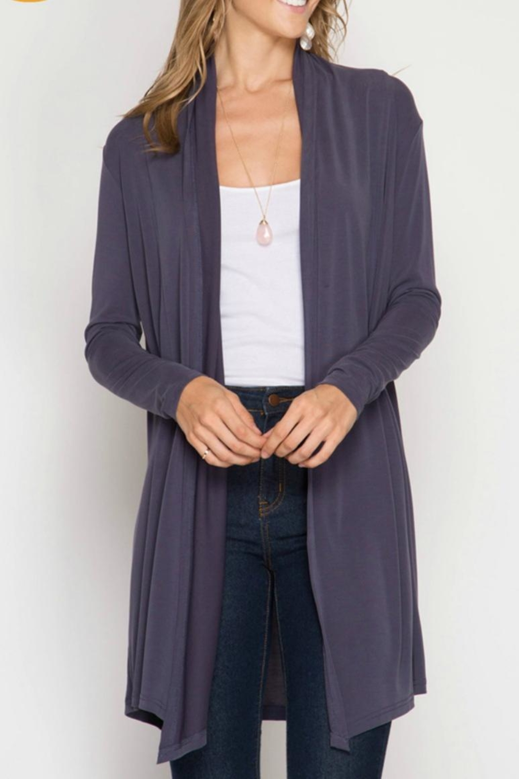 She + Sky Long Open Cardigan - Front Cropped Image
