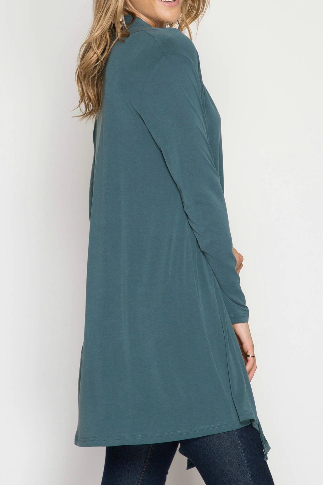 She + Sky Long Open Cardigan - Front Full Image