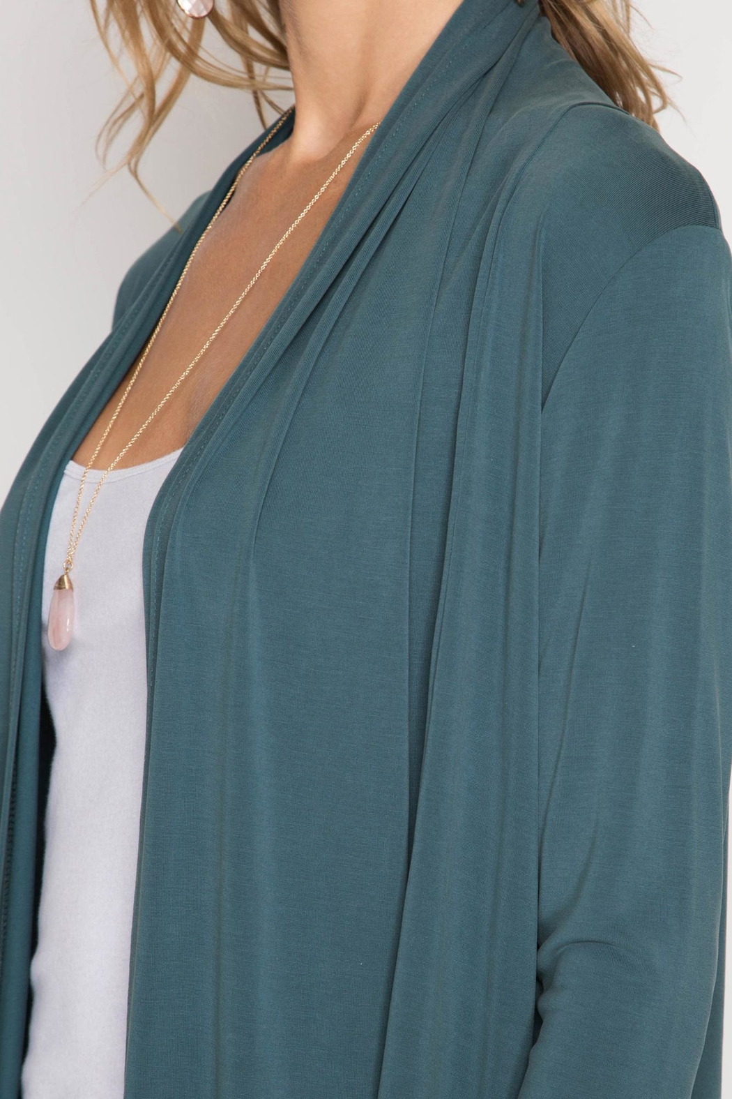 She + Sky Long Open Cardigan - Side Cropped Image