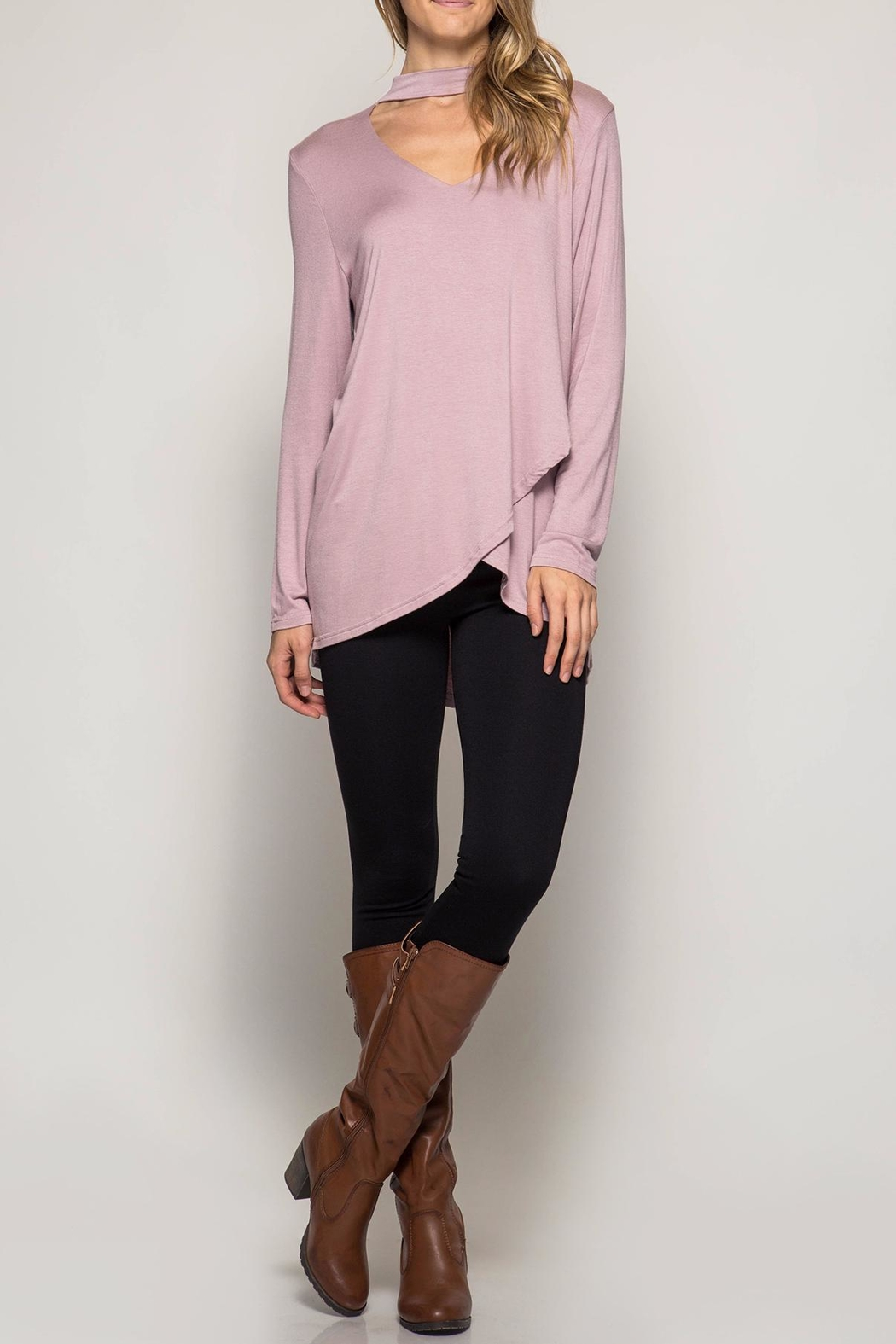 She + Sky Long Sleeve Choker Tunic - Front Cropped Image