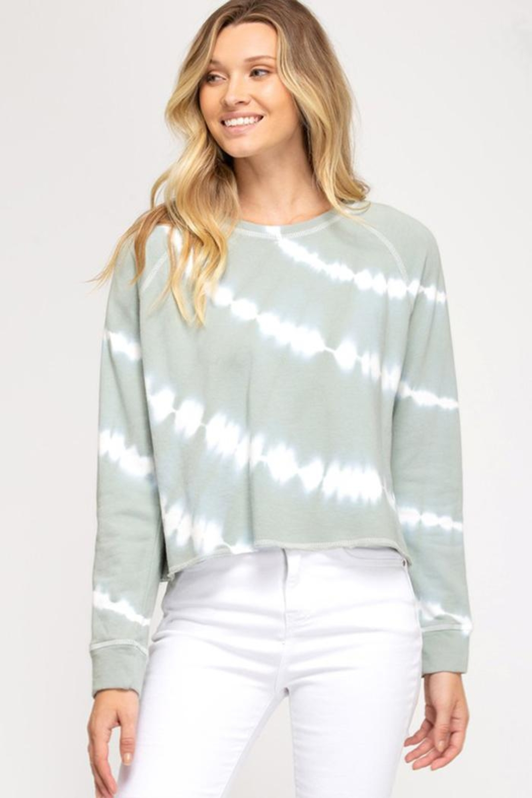 She + Sky Long Sleeve Crew Pullover - Front Cropped Image