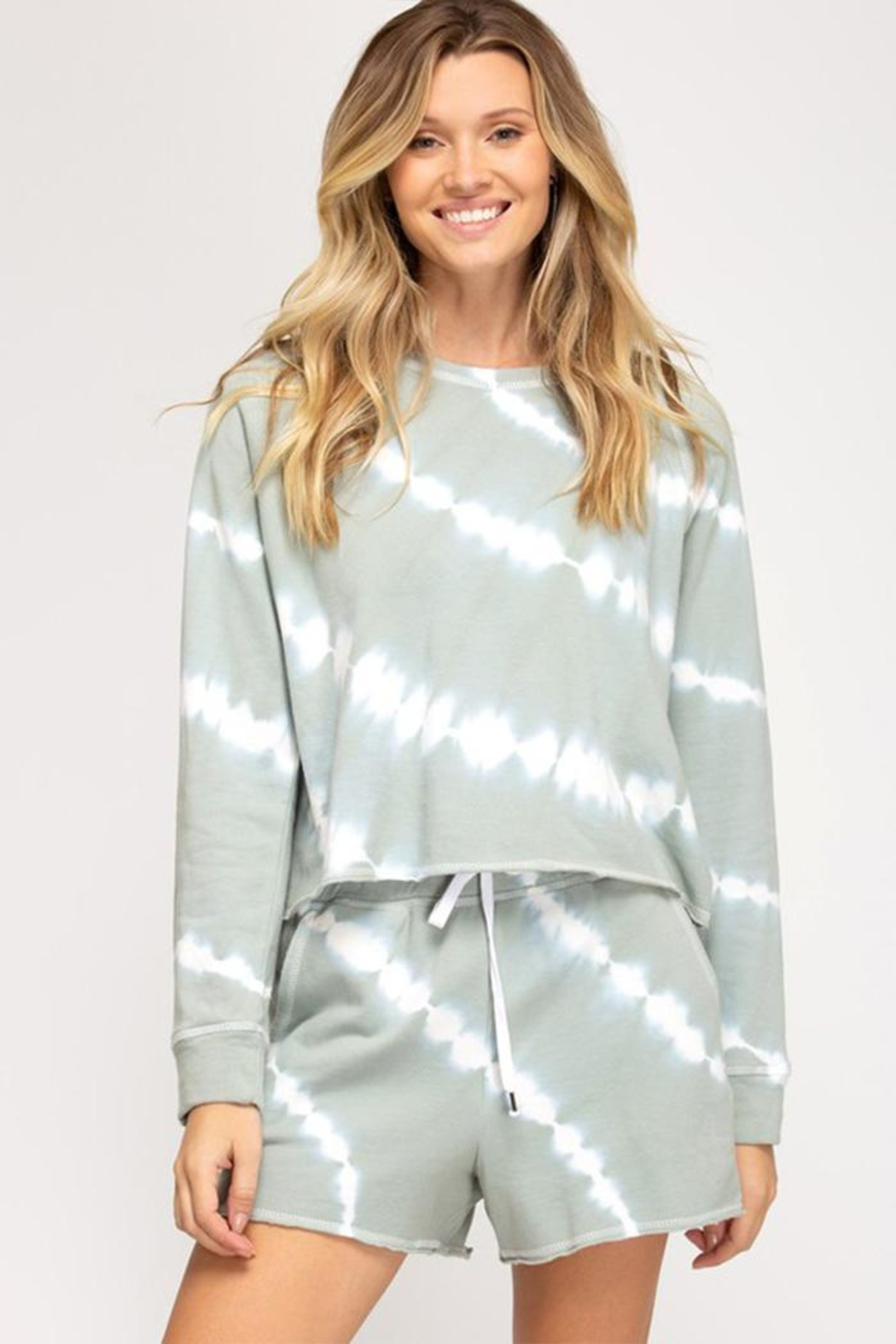 She + Sky Long Sleeve Crew Pullover - Front Full Image