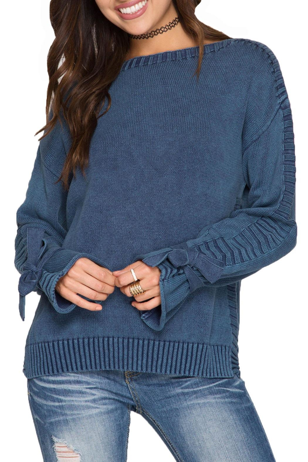 She + Sky Long Sleeve Pullover - Front Cropped Image