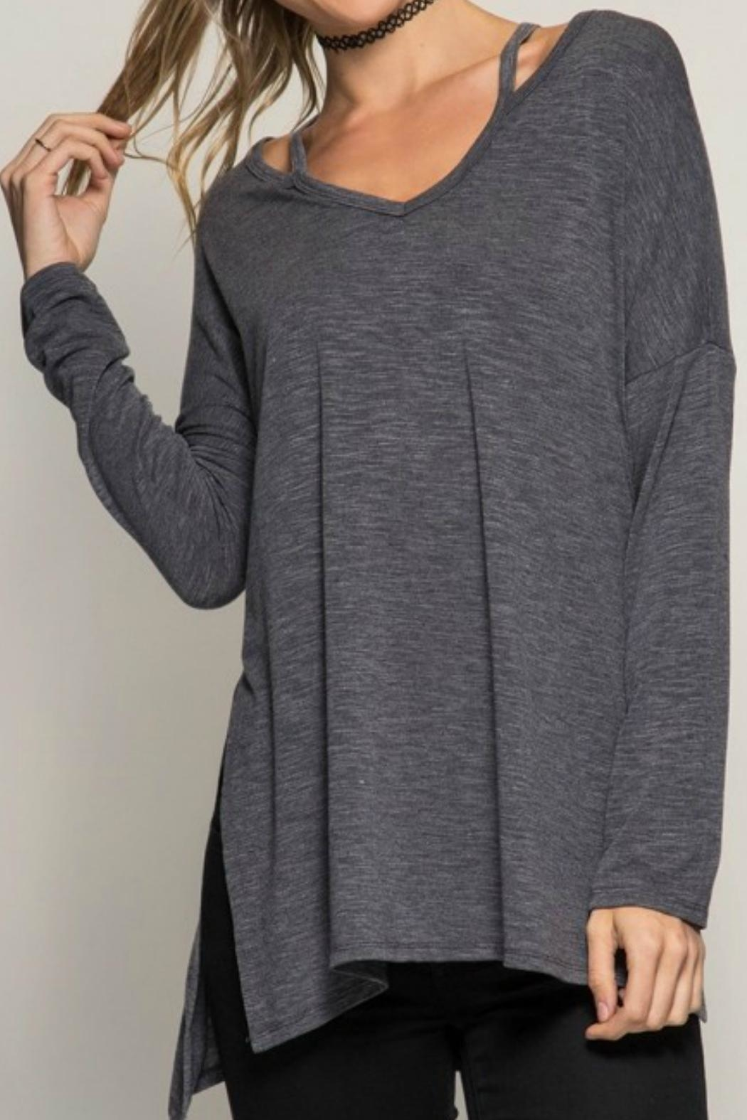 She + Sky Long-Sleeve Tunic Top - Front Cropped Image