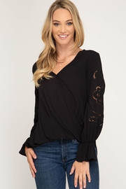 She + Sky Long Sleeve With Gathered Sleeves - Product Mini Image