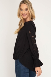 She + Sky Long Sleeve With Gathered Sleeves - Front full body