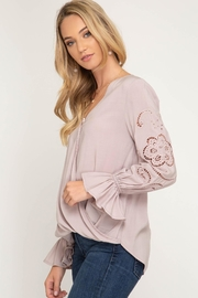 She + Sky Long Sleeve With Gathered Sleeves - Back cropped