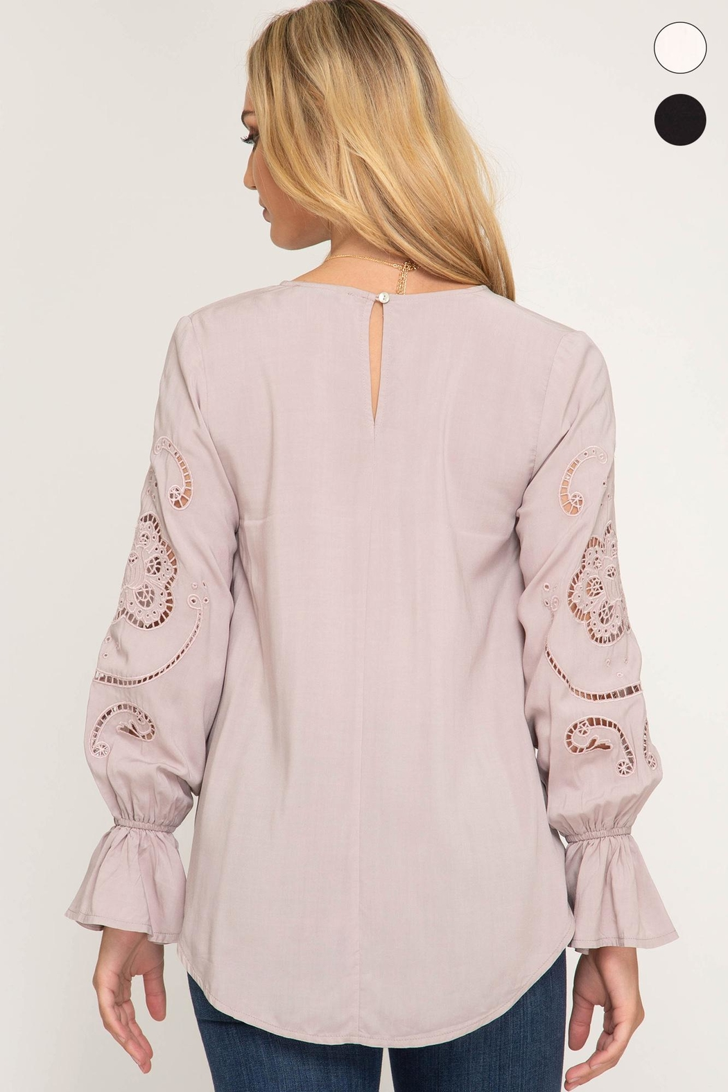She + Sky Long Sleeve With Gathered Sleeves - Front Full Image