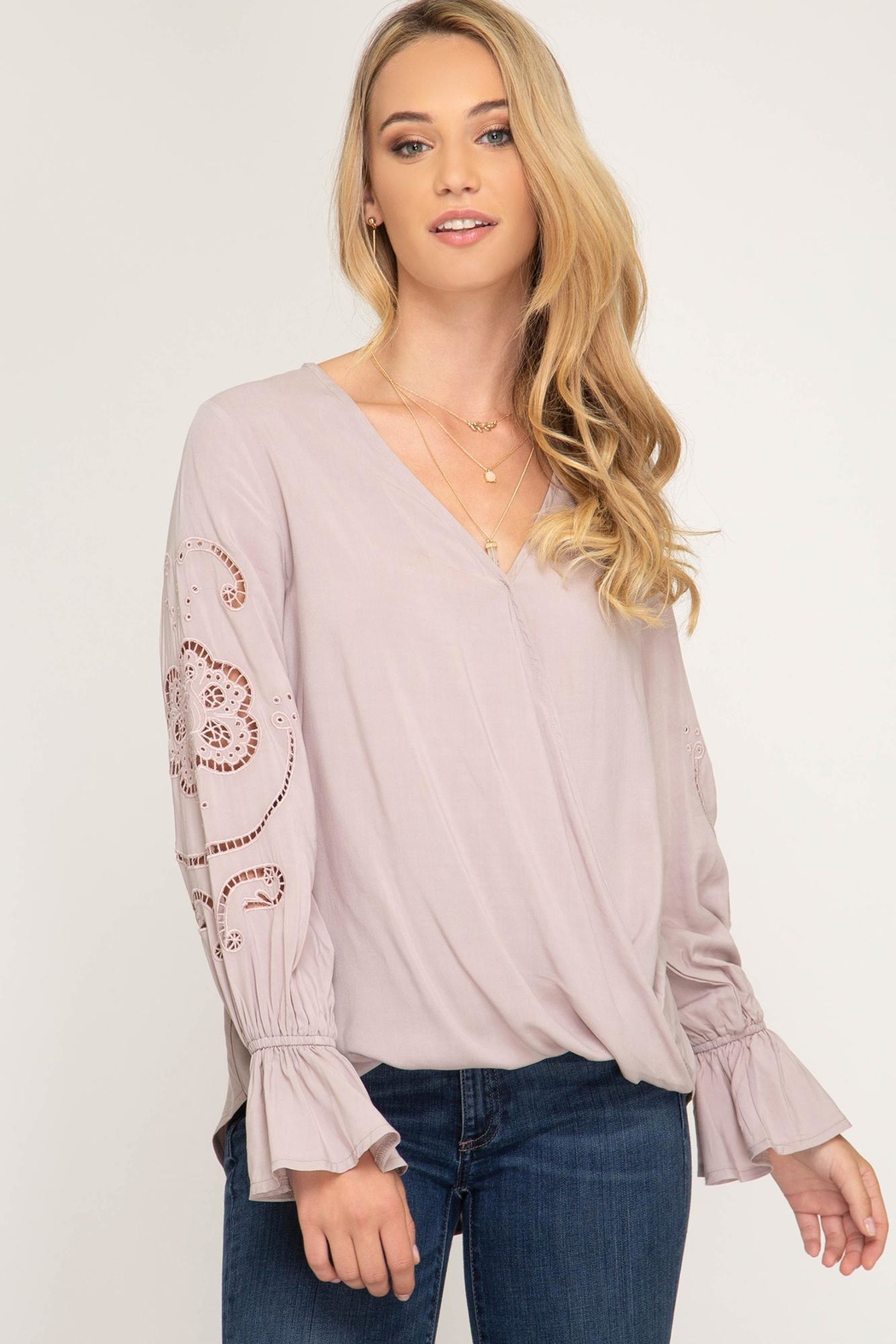 She + Sky Long Sleeve With Gathered Sleeves - Front Cropped Image