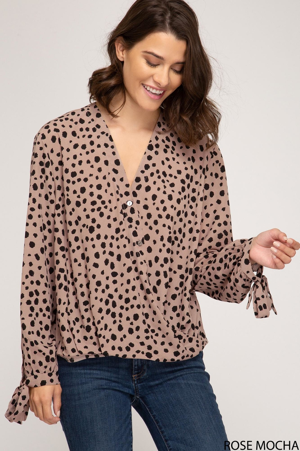 She + Sky Long Sleeve With Sleeve Ties - Front Cropped Image