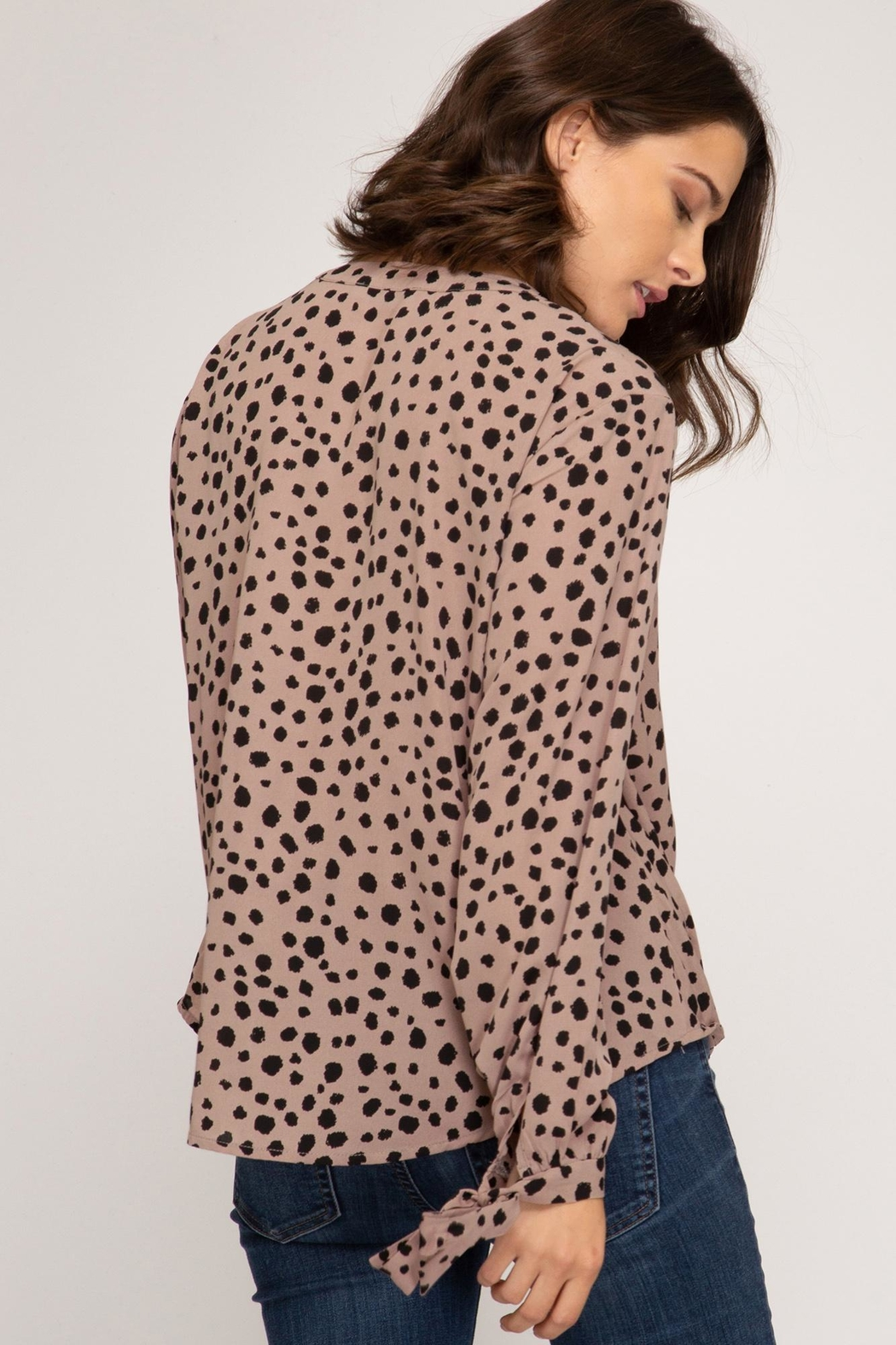 She + Sky Long Sleeve With Sleeve Ties - Front Full Image