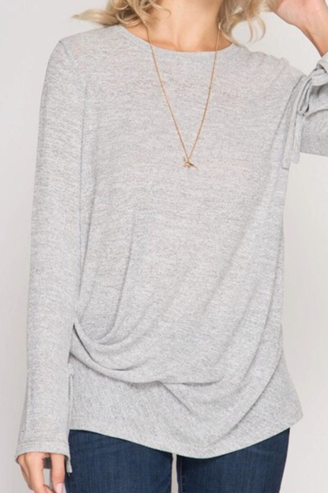She + Sky Longsleeve Knit Top - Front Cropped Image