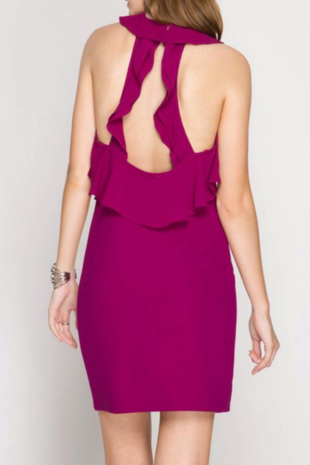 She + Sky Magenta Dress - Front Full Image