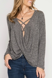 She + Sky Marled Crisscross Top - Front cropped