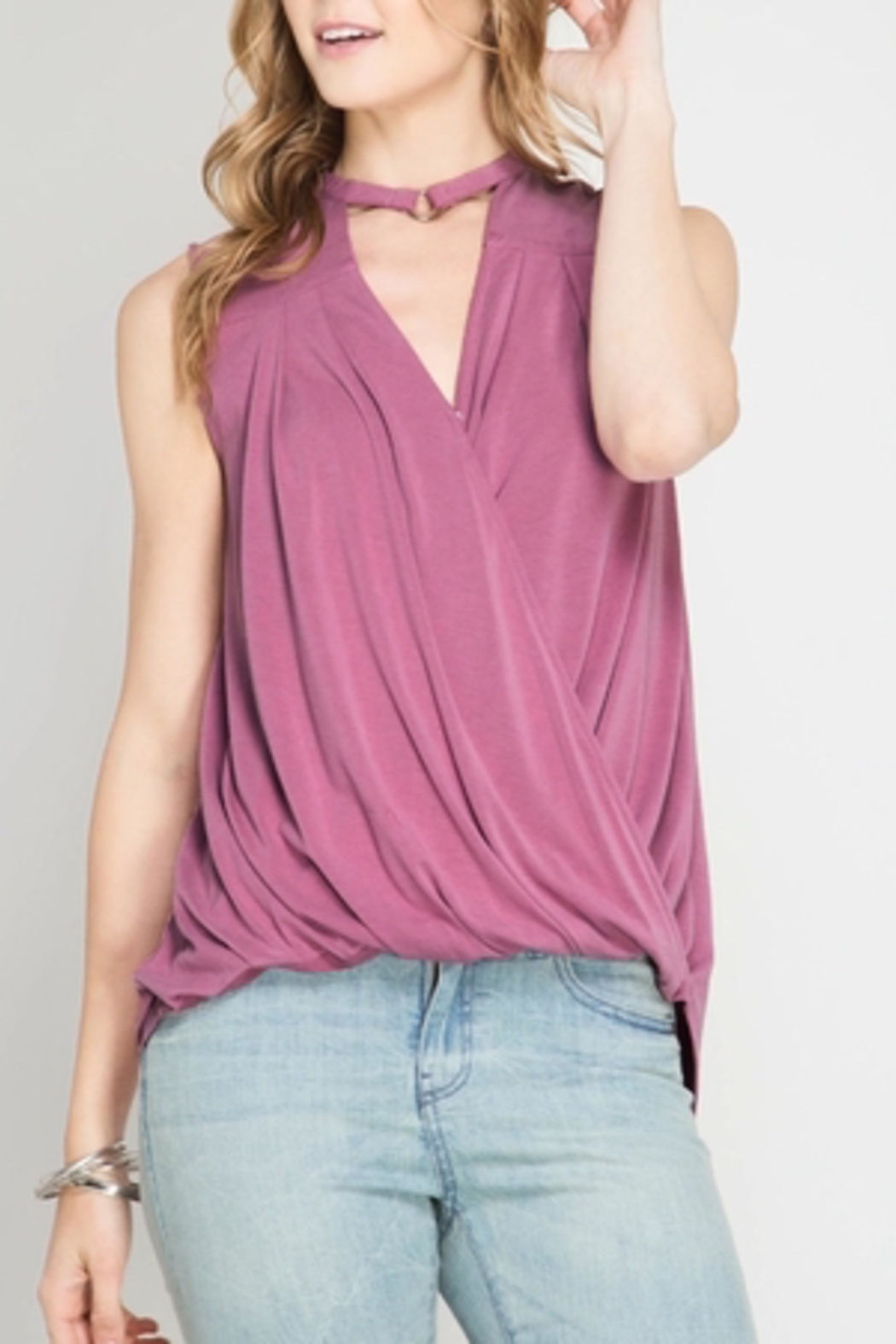 She + Sky Mauve Sleeveless Top - Front Cropped Image