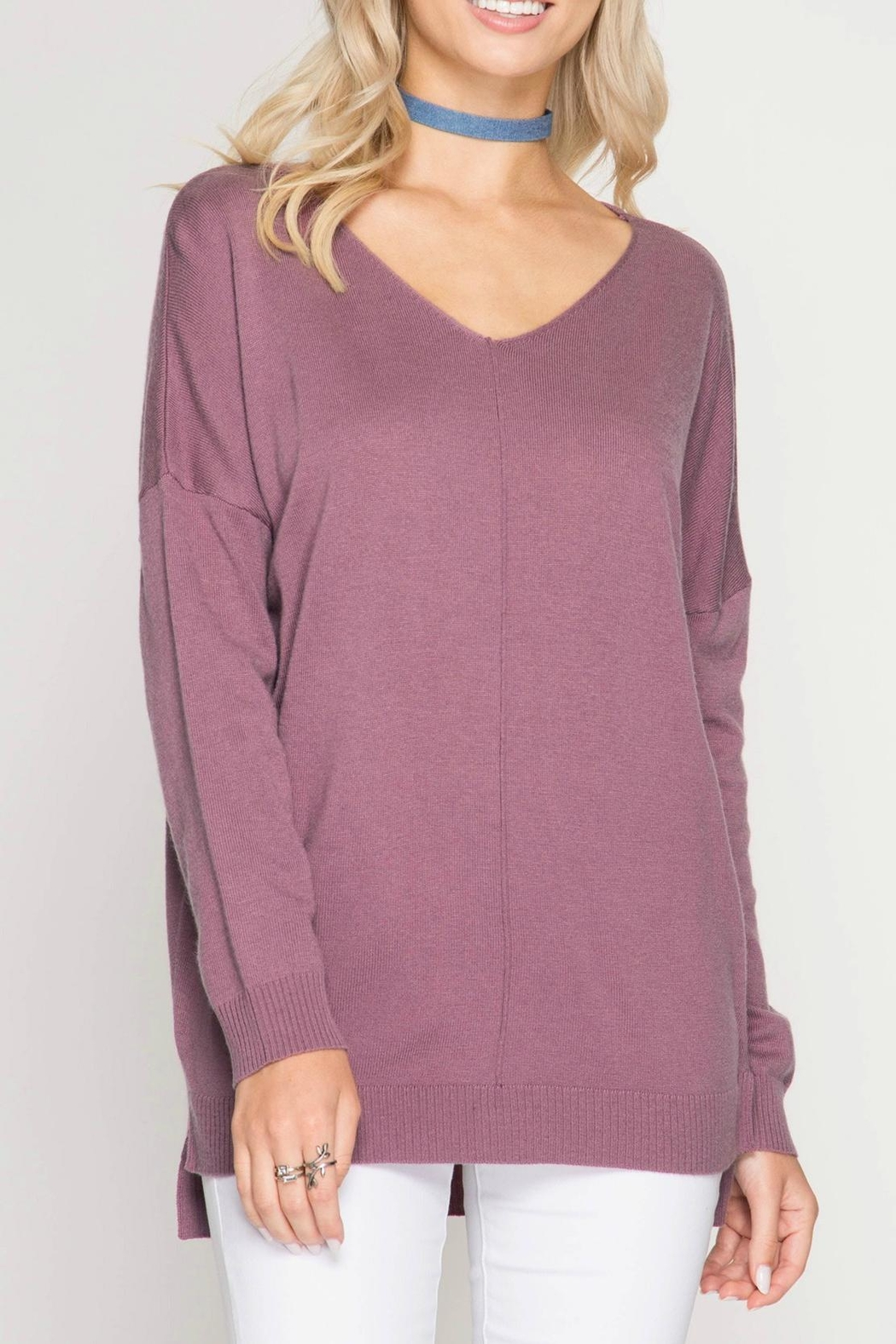 She + Sky Mauve Sweater Tunic - Main Image