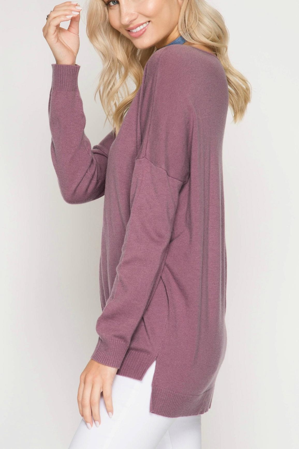 She + Sky Mauve Sweater Tunic - Front Full Image