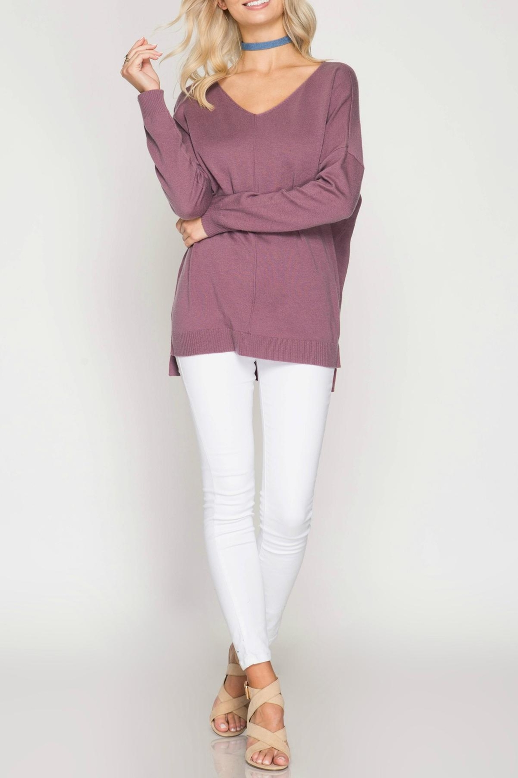 She + Sky Mauve Sweater Tunic - Back Cropped Image