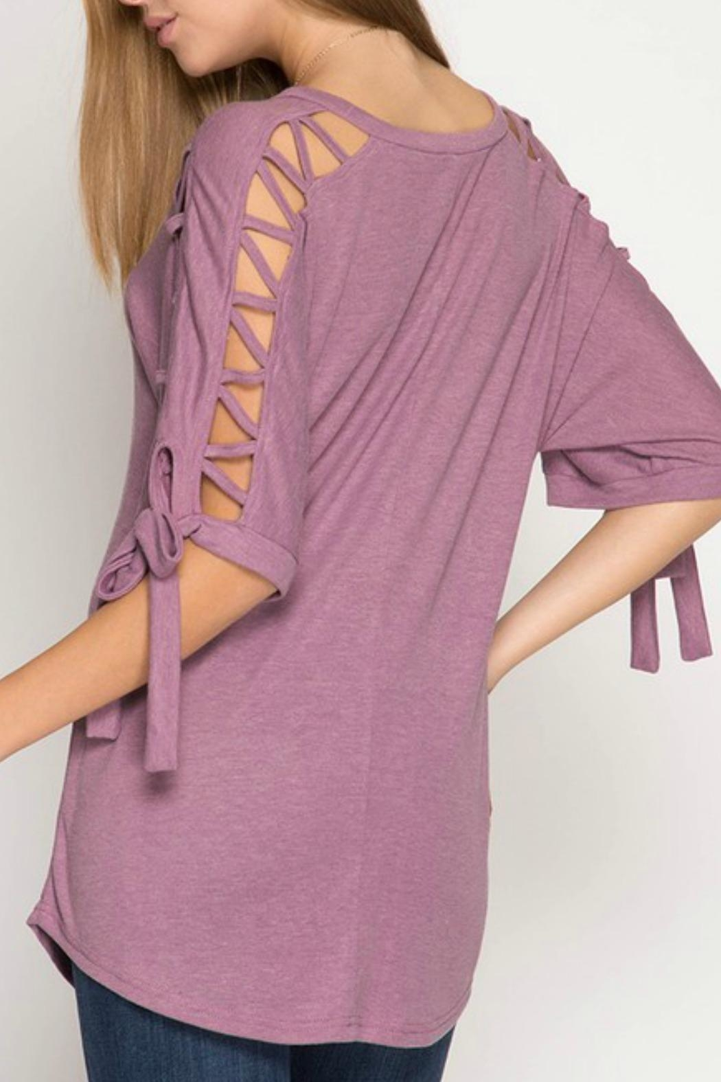 She + Sky Mauve Tie-Sleeve Top - Front Full Image