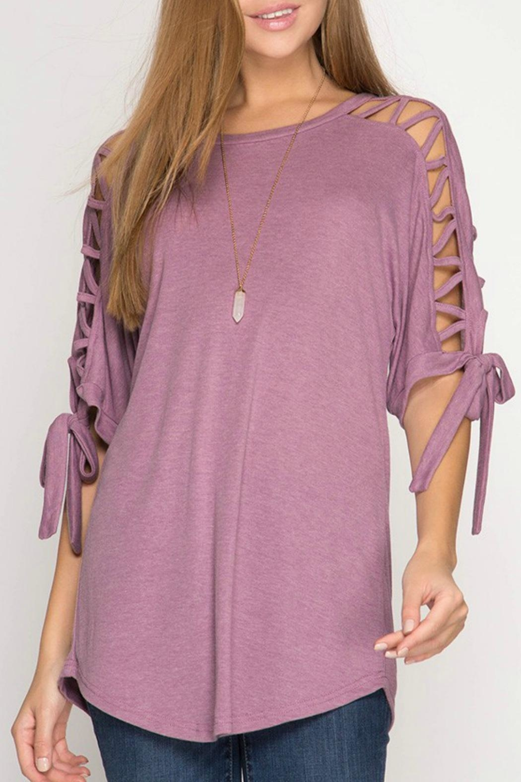 She + Sky Mauve Tie-Sleeve Top - Main Image