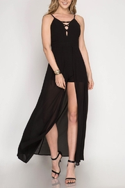 She + Sky Maxi Skirt Romper - Front cropped