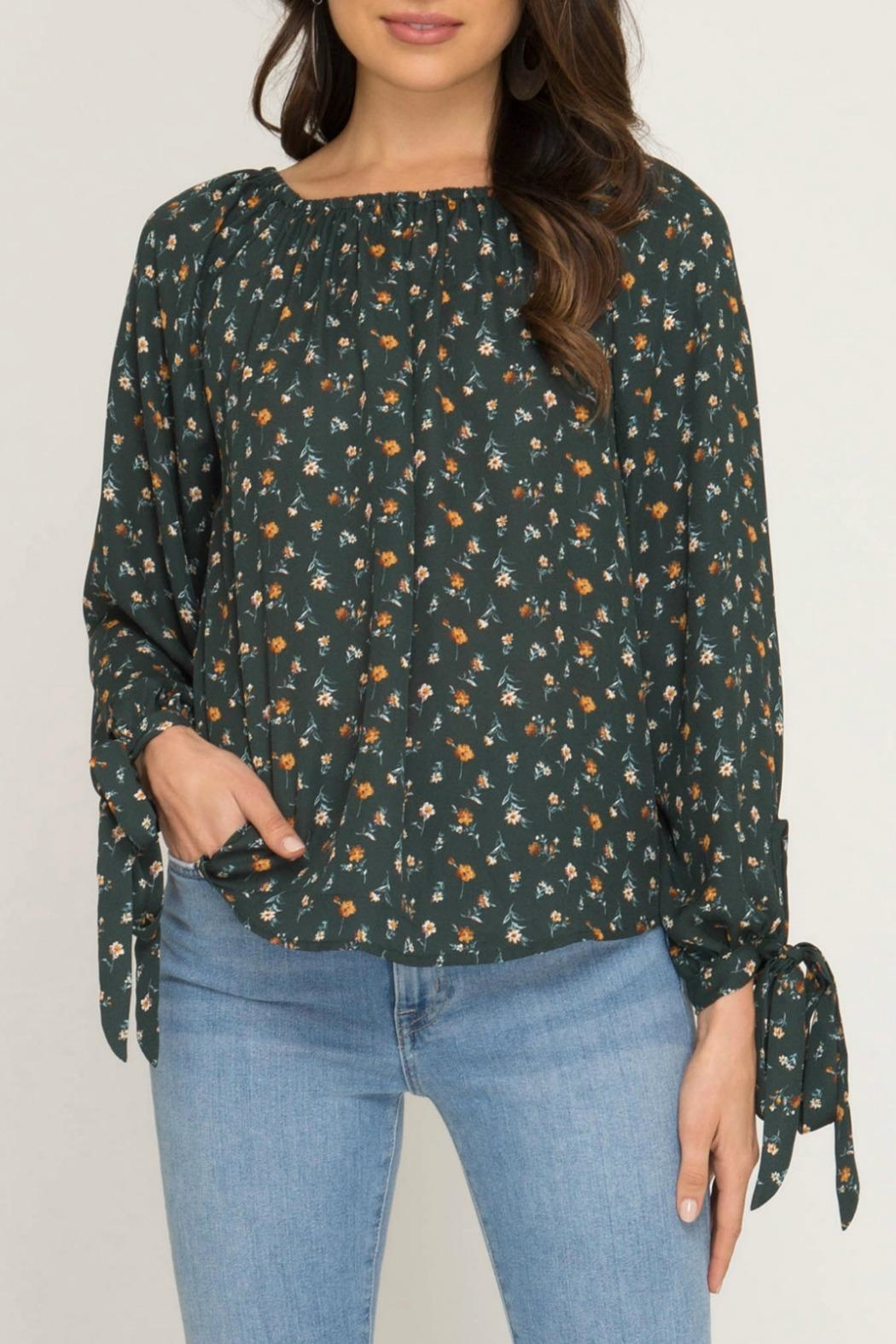 She + Sky Melody Floral Top - Front Full Image