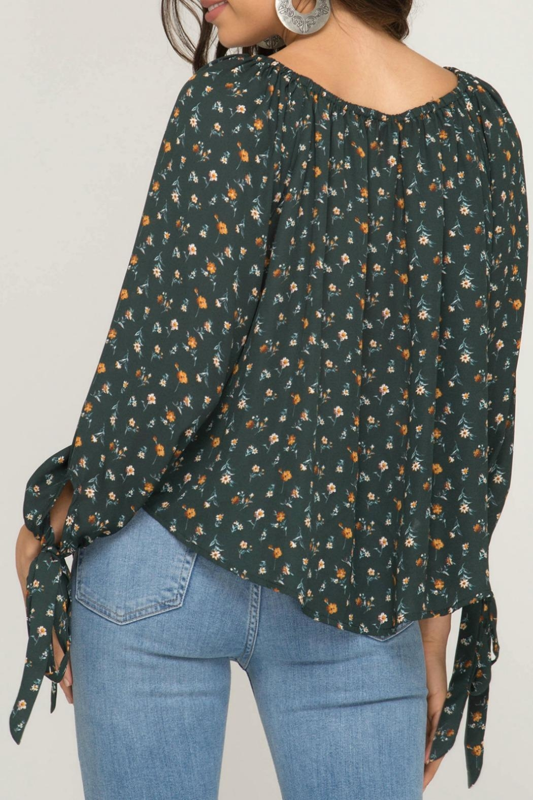 She + Sky Melody Floral Top - Back Cropped Image