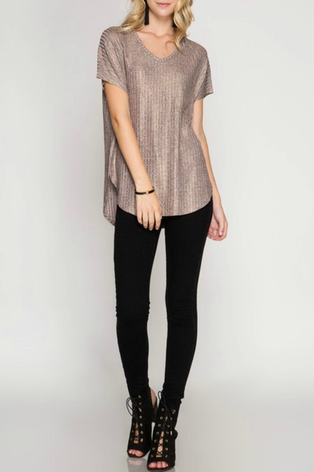 She + Sky Metallic Pocket Tee - Front Cropped Image