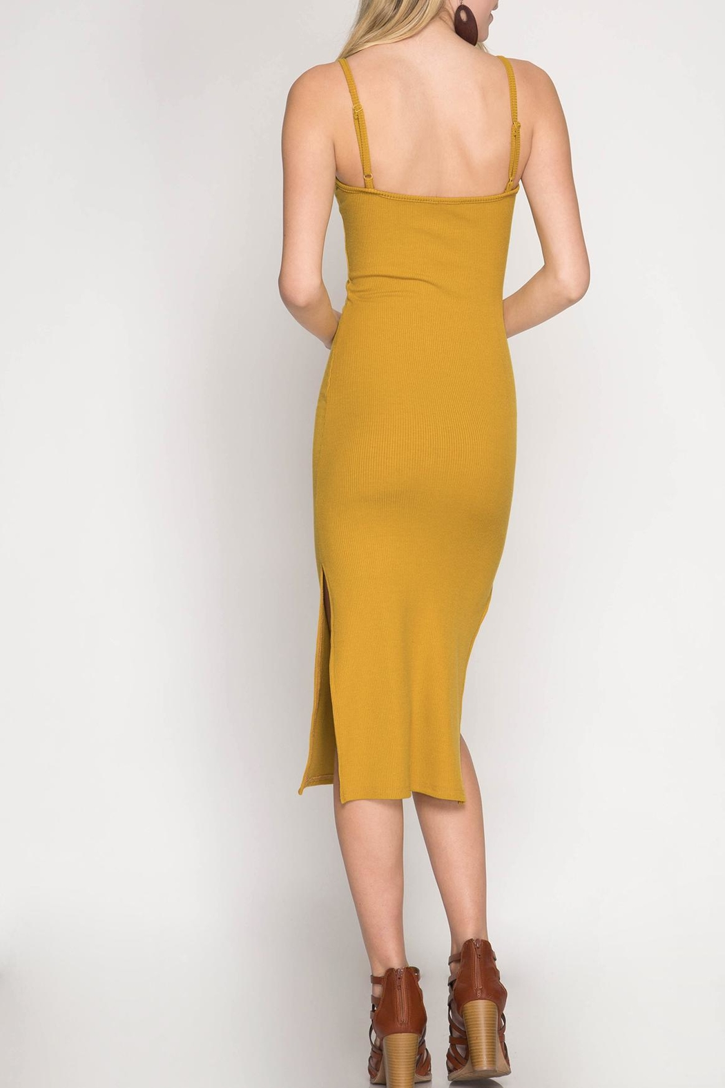 She + Sky Midi-Ribbed Bodycon Dress - Front Full Image