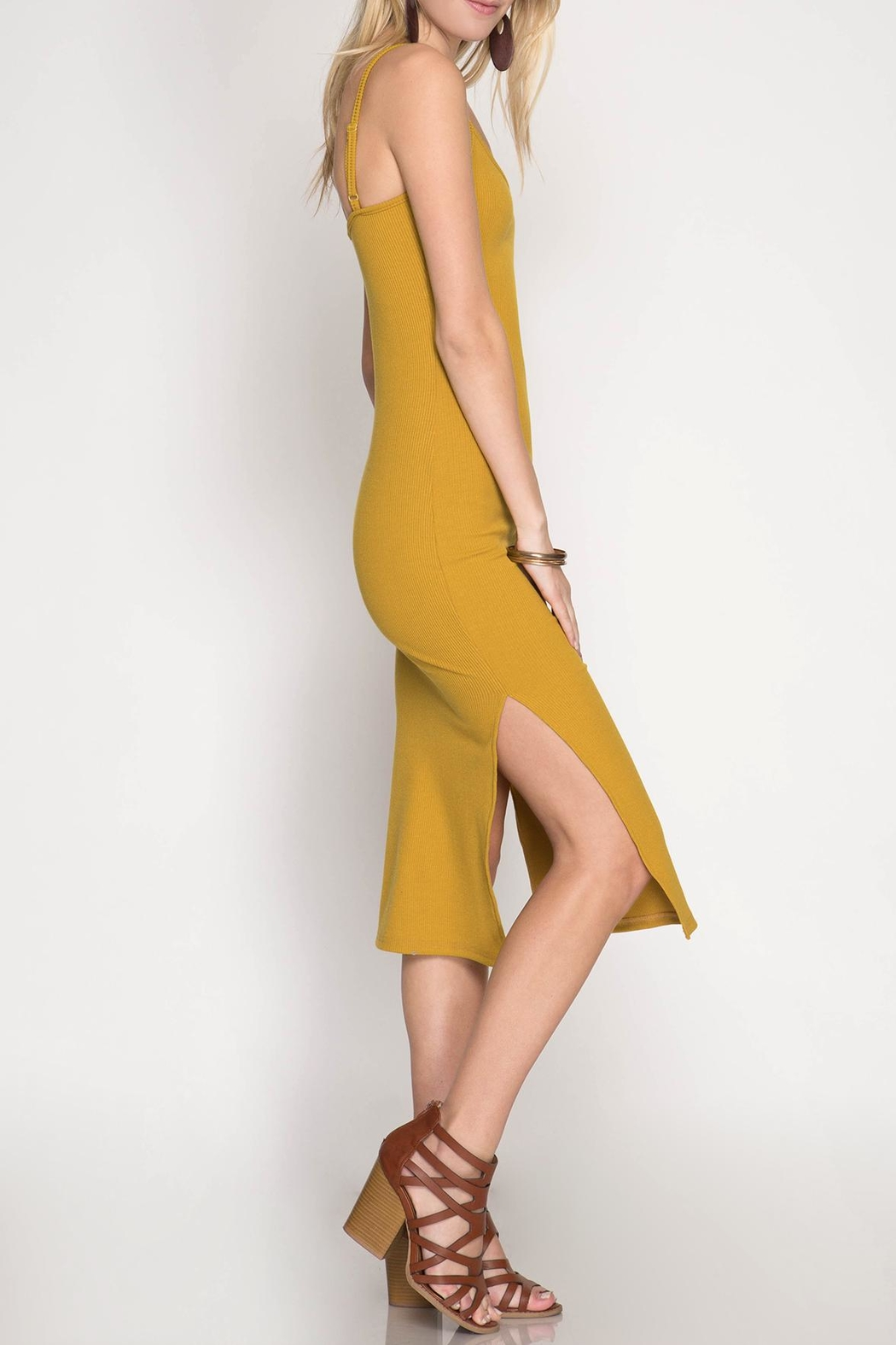 She + Sky Midi-Ribbed Bodycon Dress - Side Cropped Image