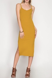 She + Sky Midi-Ribbed Bodycon Dress - Front cropped