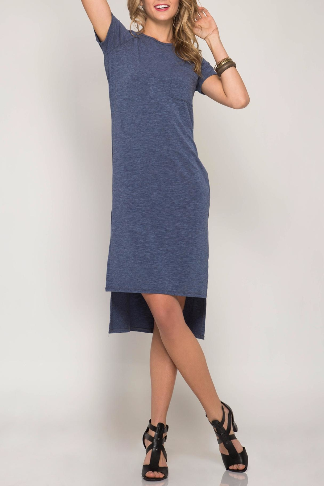 She + Sky High-Low Tee Dress - Front Cropped Image