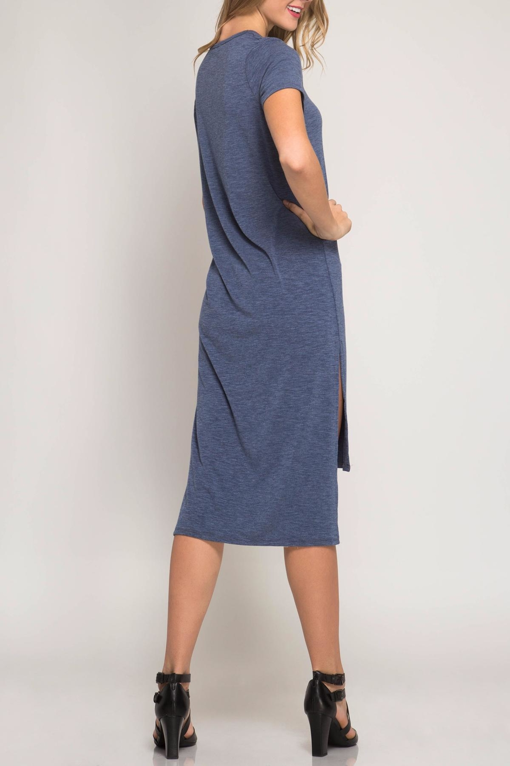 She + Sky High-Low Tee Dress - Front Full Image