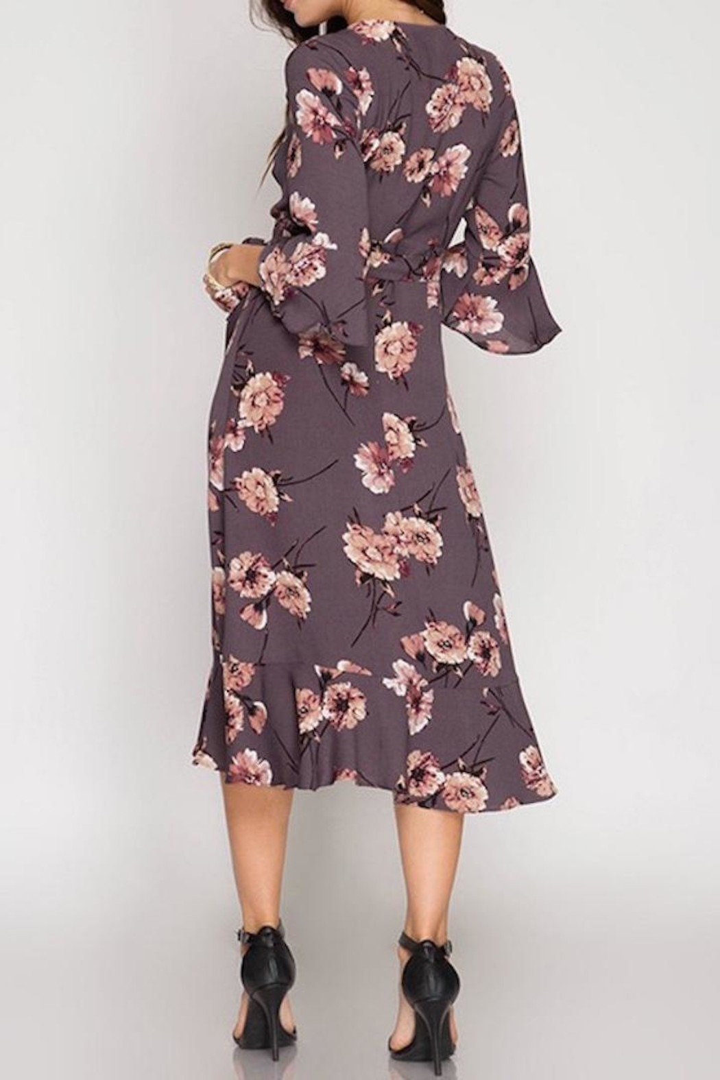 She + Sky Midi Wrap Dress - Front Full Image