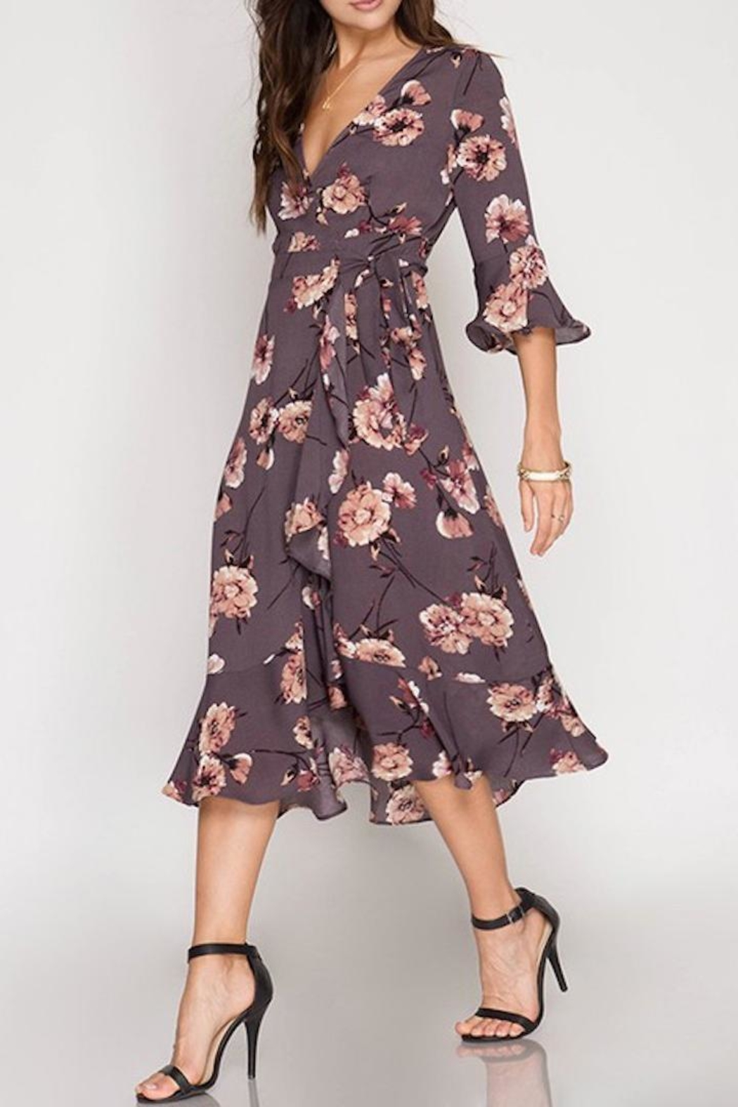 She + Sky Midi Wrap Dress - Main Image