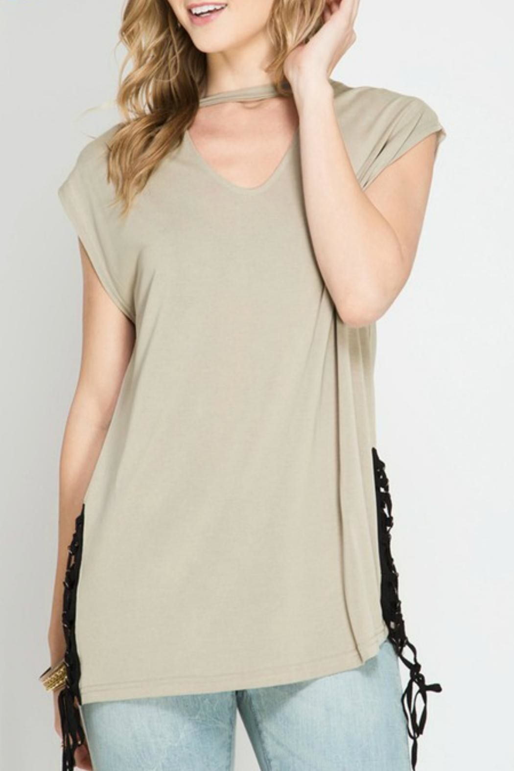 She + Sky Modal Keyhole Top - Front Cropped Image