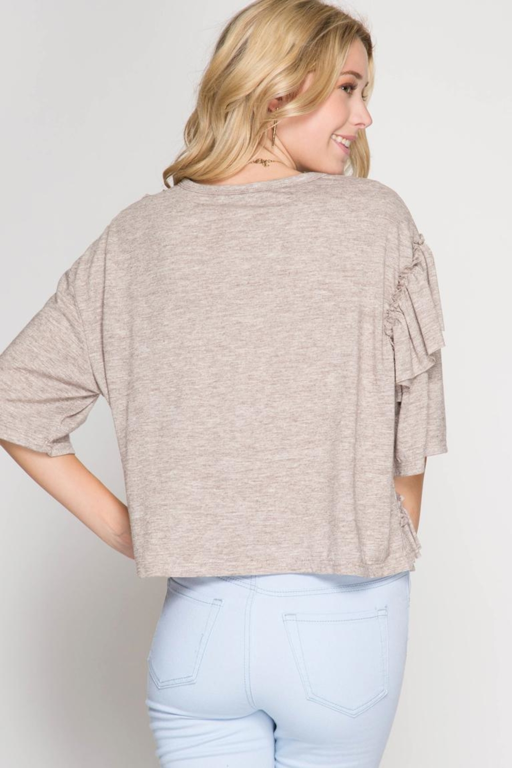 She + Sky Multi Ruffle Top - Side Cropped Image