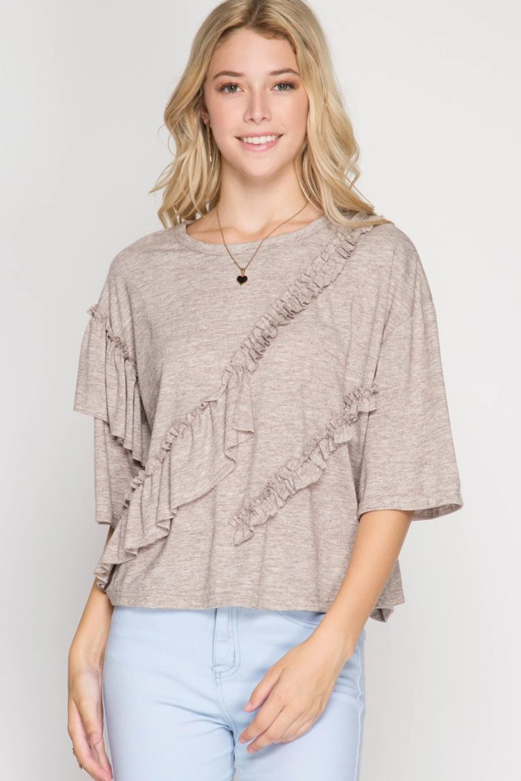 She + Sky Multi Ruffle Top - Front Cropped Image