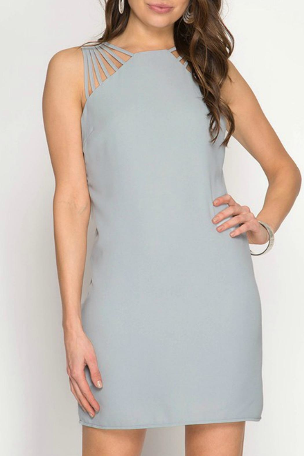 She + Sky Multi-Strap Fitted Dress - Front Cropped Image