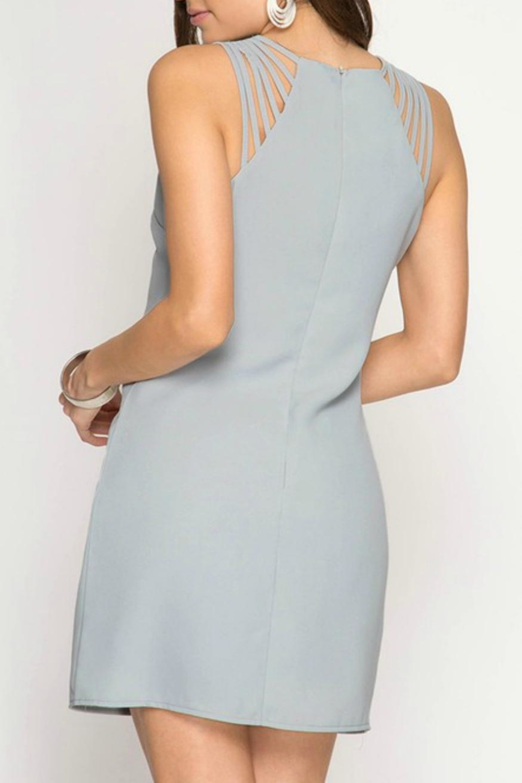 She + Sky Multi-Strap Fitted Dress - Front Full Image