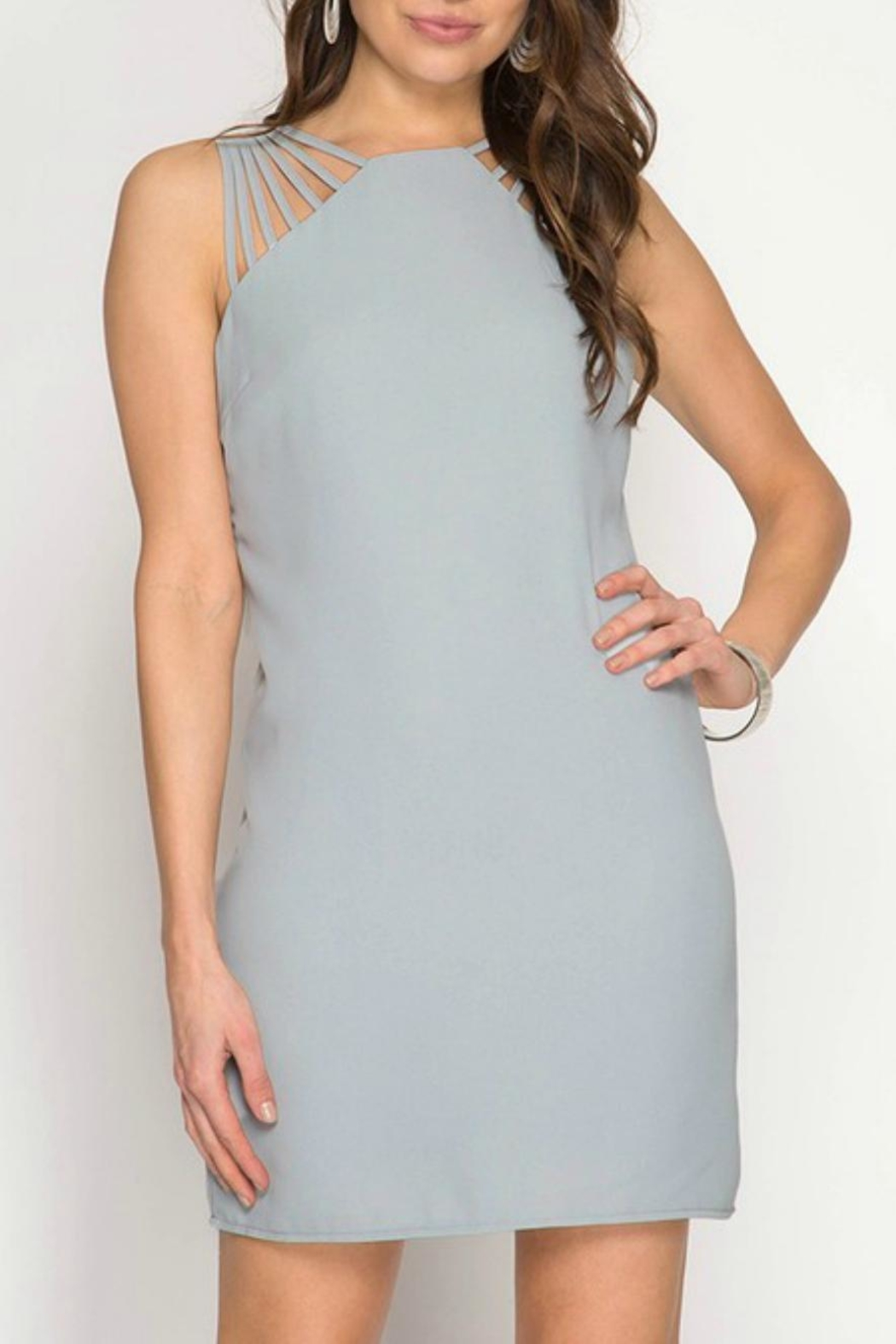 She + Sky Multi-Strap Fitted Dress - Main Image