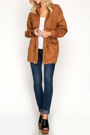 She + Sky Mustard Drawstring Jacket - Front cropped