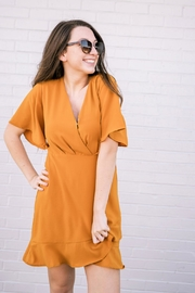 She + Sky Mustard Surplice Dress - Product Mini Image